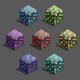 Cubos isométricos del ladrillo del pixel del juego fijados Cubo para el juego, textura del pixel del elemento para el juego de or Imagen de archivo libre de regalías