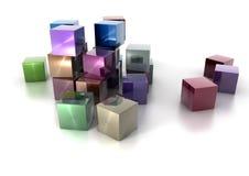 Cubos metálicos coloridos en el fondo blanco Imagen de archivo libre de regalías