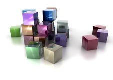 Cubos metálicos coloridos no fundo branco Imagem de Stock Royalty Free