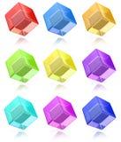 Cubos multicolores fijados Fotos de archivo libres de regalías