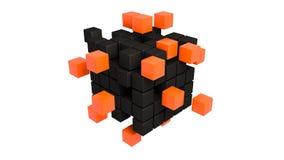 Cubos plásticos anaranjados y negros abstractos Ilustración del Vector