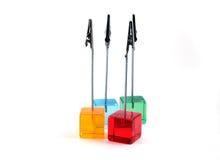 Cubos plásticos com grampos Fotografia de Stock