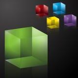 Cubos transparentes coloridos 3D Imágenes de archivo libres de regalías