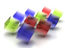 Cubos transparentes coloridos Imagem de Stock