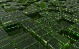 Cubos verdes transparentes abstratos ilustração 3D Fotos de Stock