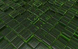 Cubos verdes transparentes abstratos ilustração 3D Fotos de Stock Royalty Free