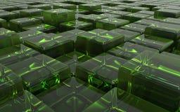 Cubos verdes transparentes abstratos ilustração 3D Imagem de Stock