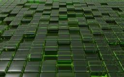 Cubos verdes transparentes abstratos ilustração 3D Imagens de Stock