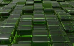 Cubos verdes transparentes abstratos ilustração 3D Imagem de Stock Royalty Free