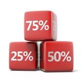Cubos vermelhos com por cento Fotografia de Stock Royalty Free