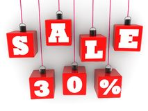 Cubos vermelhos de suspensão com vendas do conceito 30% no fundo branco ilustração royalty free