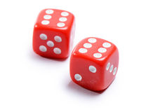 Cubos vermelhos para o pôquer no fundo branco Imagem de Stock Royalty Free