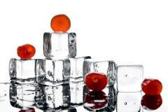 Cubos y cerezas de hielo Foto de archivo libre de regalías
