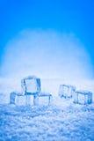 Cubos y nieve mojados de hielo Fotos de archivo