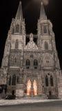 Cubra con una cúpula a San Pedro en Baviera de Regensburg en la noche del invierno Fotos de archivo