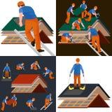 Cubra el hogar de la reparación del trabajador de construcción, casa de la teja del tejado de la fijación de la estructura de la  Fotos de archivo libres de regalías