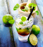 Cubra Libre Drink. On vintage planks for south sea concepts royalty free stock photo