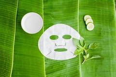 Cubra a máscara protetora com o pepino no fundo da folha da banana foto de stock
