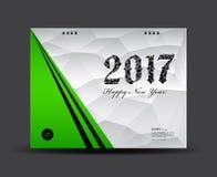 Cubra o calendário de mesa 2017, ano novo feliz 2017, capa do livro ilustração do vetor