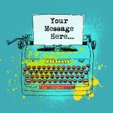 Cubra o desenho da máquina de escrever do estilo do vintage com espaço para o texto Fotos de Stock
