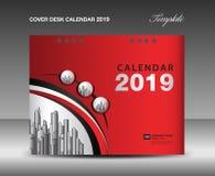 Cubra o projeto do calendário de mesa 2019, molde do informe anual, inseto do folheto do negócio, anúncios, brochura, catálogo, c ilustração do vetor