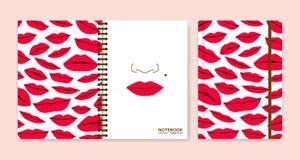 Cubra o projeto para cadernos ou álbuns de recortes com os bordos ilustração royalty free