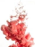Cubra o redemoinho na água isolada no fundo branco A pintura na água Disseminação macia gotas da tinta cor-de-rosa dentro fotografia de stock