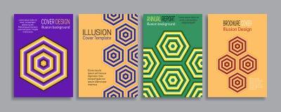 Cubre plantillas de la ilusión Folleto, folleto, informe anual, diseño rayado mínimo del cartel Fotografía de archivo