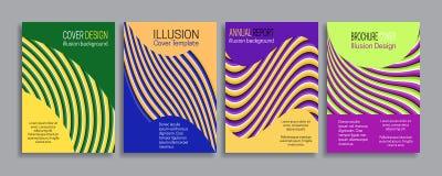 Cubre plantillas de la ilusión Folleto, folleto, informe anual, diseño rayado mínimo del cartel Imagenes de archivo