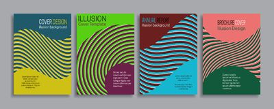 Cubre plantillas de la ilusión Folleto, folleto, informe anual, diseño rayado mínimo del cartel Fotos de archivo libres de regalías