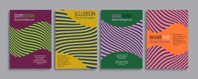 Cubre plantillas de la ilusión Folleto, folleto, informe anual, diseño rayado mínimo del cartel Imagen de archivo libre de regalías