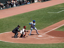 Cubs batter Randy Wells stands in batters box with Giants Buster Royalty Free Stock Photography