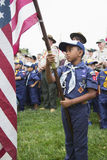 Cubscout display US Flag at solemn 2014 Memorial Day Event, Los Angeles National Cemetery, California, USA Royalty Free Stock Photo