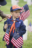 Cubscout places one of 85, 000 US Flags at 2014 Memorial Day Event, Los Angeles National Cemetery, California, USA Royalty Free Stock Image