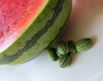 Cucamelon with watermelon Royalty Free Stock Images