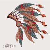 Cucaracha coloreada Tocado indio de la pluma del águila Fotografía de archivo libre de regalías