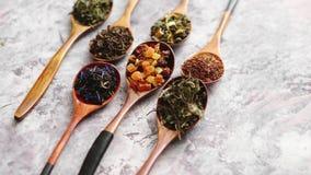 Cucchiai con differenti tipi di foglie di tè asciutte