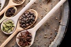 Cucchiai con le varie spezie aromatiche per la cottura sul bordo di legno vecchio, primo piano, disposizione del piano, fuoco sel Fotografie Stock Libere da Diritti