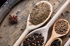 Cucchiai con le varie spezie aromatiche per la cottura sul bordo di legno vecchio, primo piano, disposizione del piano, fuoco sel Immagini Stock Libere da Diritti