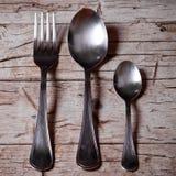 Cucchiai d'annata e forchetta Fotografia Stock Libera da Diritti