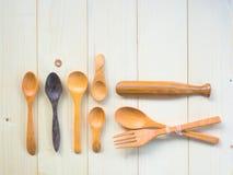Cucchiai di legno Fotografia Stock Libera da Diritti