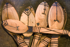 Cucchiai di legno africani Fotografia Stock Libera da Diritti