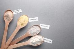 Cucchiai di legno con differenti tipi di farine Fotografie Stock Libere da Diritti