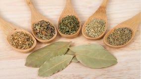 Cucchiai di legno con le erbe italiane tradizionali sulla tavola di legno Fotografia Stock