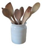 Cucchiai di legno del contenitore dell'annata Fotografia Stock Libera da Diritti