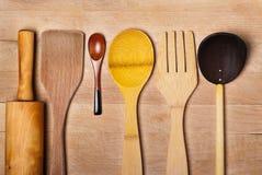 Cucchiai di legno Handcrafted Immagini Stock Libere da Diritti