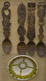 Cucchiai di legno intagliati Immagini Stock Libere da Diritti