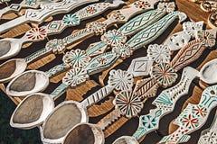 Cucchiai di legno scolpiti Immagine Stock Libera da Diritti