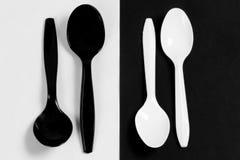 Cucchiai di plastica Fotografia Stock Libera da Diritti