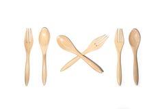 Cucchiai e forchetta di legno di Brown Fotografia Stock